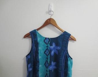 90s blue floral dress