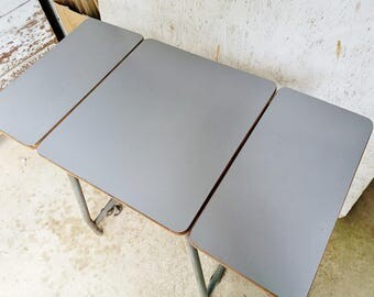 Industrial Table   Small Grey Formica And Metal Table With Fold Down Sides    Small Work