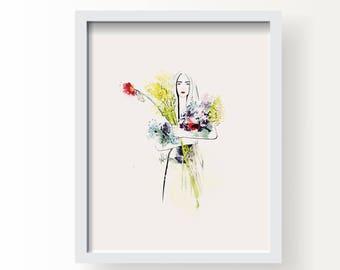 Wildflower Annie - Fashion Fine Art Illustration Print, Wall Art Print, Poster Illustration, Art for Home, Office, Wildflower Illustration