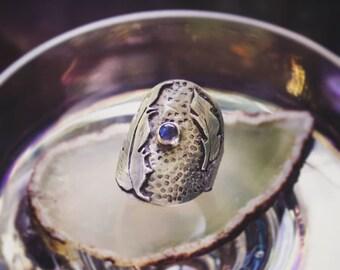 Labradorite Feather Saddle Ring, Sterling Silver Saddle Ring, Handmade Feather Ring, Silver and Blue Ring, Artisan Saddle Ring, Boho Ring