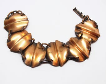Modernist Solid Copper Link Bracelet