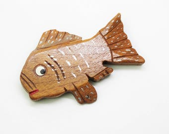 1940s Large Carved Wooden Figural Fish Brooch