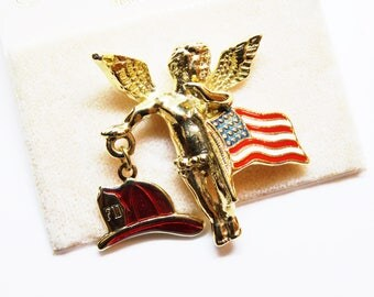 Kirks Folly Fireman American Flag Angel Cherub Commemorative Pin on Card