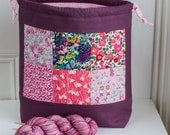 Large Liberty Patchwork drawstring project bag in purples and pinks