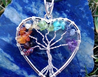 Chakra Tree Of Life Heart Shaped Wire Wrapped Pendant