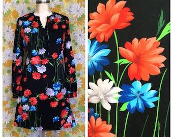 70s Vintage Black Floral Mini Dress Medium Large