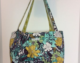 Flowers -large reversible and reusable shopping bag