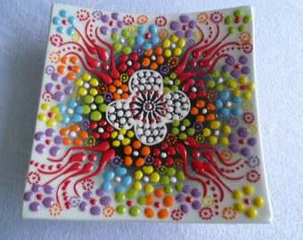 """Square Plate, 5"""" square, Turkish ceramic, white with rainbow colors, raised floral plate, trinket dish, coaster"""