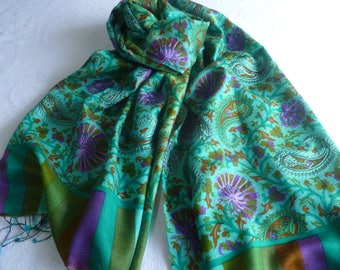 Scarf, embroidered, FREE SHIPPING, turquoise, natural fiber,  paisley, Kani design, wool silk blend, table runner