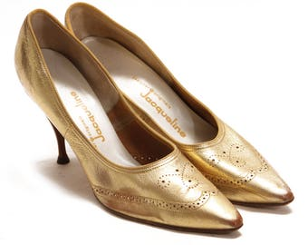 1950s Gold Metallic Pointed Toe Stiletto Spike High Heels by Jacqueline - Size 11- 11 1/2