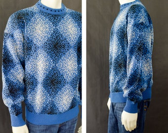 80s Men's Sweater, Oversized Slouchy Sweater, Geometric Pattern Sweater, McGregor Sweater, Blue Acrylic Pull Over Sweater, Men's Size XL