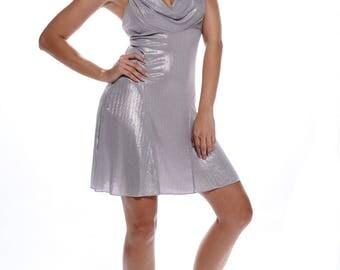Silver shiny grey flared summer dress