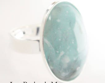 Ring Cabochon resin light blue color
