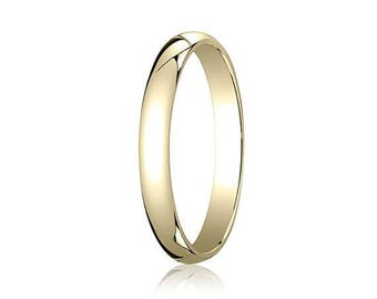 ON SALE 3MM Wide Domed 10K Gold Band Men's or Women's Basic Wedding Ring with Custom Engraving Half Round Classic Style
