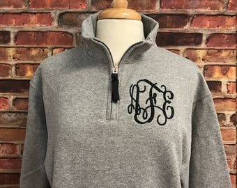 Monogrammed Sweatshirt-1/4 Quarter Zip Pullover-Preppy Monogram Quarter Zip-Monogram Fleece Pullover-Monogram Sweatshirt