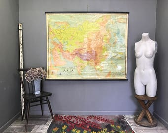 Large Vintage Map of Asia Retro Antique School Hanging Wall India Japan Thailand