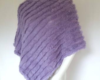 90s Rabbit Fur Poncho Purple Shawl Natural Fur Scarf Knit Cape SOFT and Flowy Lavender Lilac 1990s Fashion