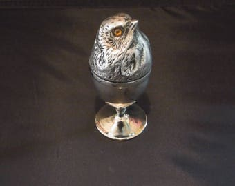 STUNNING Antique Silver Plated Egg Holder Chick design with glass eyes Vintage silver plated egg holder Silver Plated Chick Egg Cup