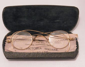 Antique Edwardian gold-plated glasses with original named optician  case circa 1920s Antique spectacles Antique Optician Case and Glasses