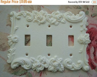 Sale 10% Roses & Flourish Single Triple Toggle Wall Plate Resin French Country Chic Circa 1967