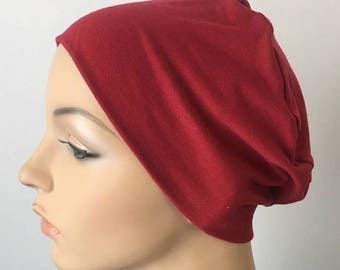 Cranberry Chemo Sleep Cap. Hat for woman suffering hair loss. Chemo Cap. Sleep Cap. Cancer Hat. Alopecia Hat. Beanie. Soft hat. Head wear