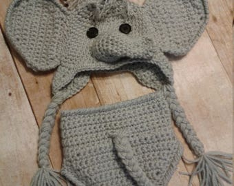 Baby Crochet Elephant hat and diaper cover photography set