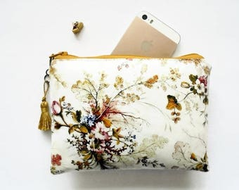 Waterproof pouch, Antique floral wallet, ladies wallet, girlfriend gift.