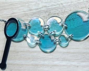 Bubble Blower Iridescent Acrylic Handmade Necklace