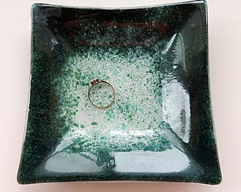 Fused glass plate, painted fused plate,green white square ring plate