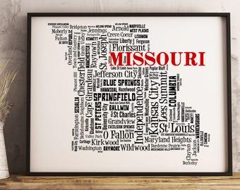 Missouri Map Art, Missouri Art Print, Missouri City Map, Missouri Typography Art, Missouri Wall Decor, Missouri Moving Gift