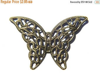HALF PRICE 6 Large Bronze Filigree Butterfly Centerpiece Connectors - 40mm