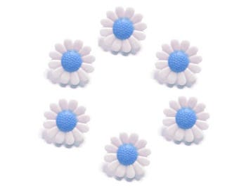 6 buttons blue and white daisy flowers
