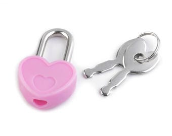 Pink heart padlock with keys