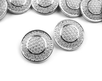 5 buttons 17 mm silver metal engraved arabesques