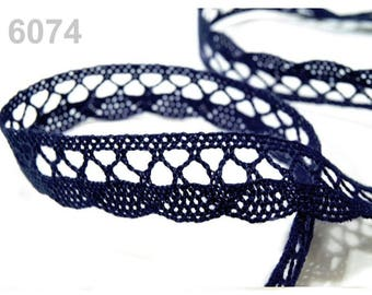 06085 - Dark 18 mm Navy blue cotton lace trim Ribbon