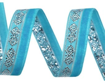 Turquoise blue velvet and silver lurex 10 mm Ribbon