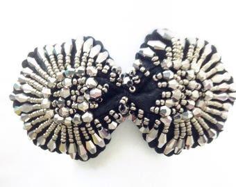 Headband Ribbon headband silver headband bow black and silver wedding party