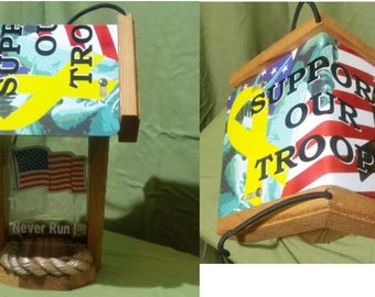 Support Our Troops Two-Sided Cedar Bird Feeder