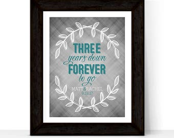 3rd anniversary gift for him, her, couple | third wedding anniversary gift for husband, wife, men | 3 three years down forever to go