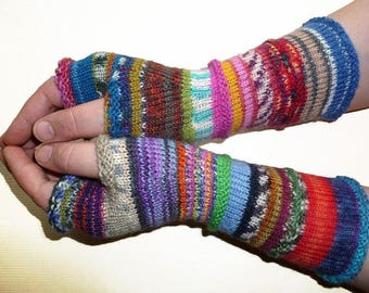 Knit Fingerless gloves | Knitted Fingerless Mittens | Long Arm Warmers | Hand Warmers | Boho Glove | Wrist Warmers