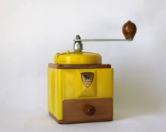 French Vintage Peugeot Coffee Mill Grinder Yellow Enamel 1940s Burr Grinder Fully Restored