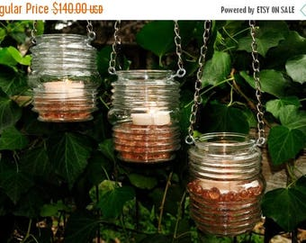 50% OFF Hanging candle holders - rustic wedding candleholders (set of 3)