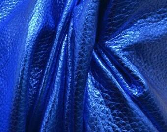 "Electric Blue Oasis Metallic ""Vegas"" Leather Cow Hide 12"" x 12"" Pre-Cut  3 1/2 ounces grainy TA-26154 (Sec. 8,Shelf 4,C)"