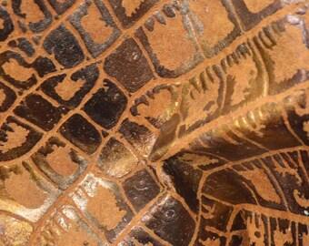 "Tri Color Metallic Reptile Leather Pig Hide 4"" x 6"" Project Piece 1 oz TA-58107 (Sec. 3,Shelf 5,C,Box 3)"