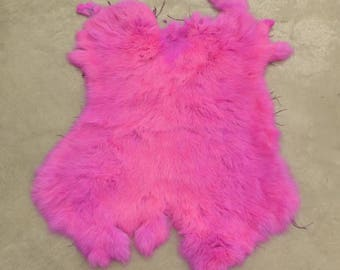 Rabbit Fur Pelt Neon Pink Genuine Leather Large DE-62867 (Sec. 2,Shelf 5,A)