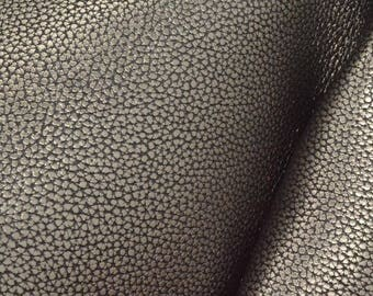 "Metallic Basic Gunmetal Leather Cow Hide 4"" x 6"" Pre-cut 4-5 oz grainy DE-66245 (Sec. 3,Shelf 5,B,Box 4)"