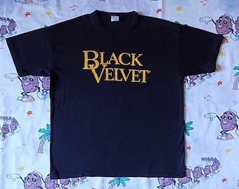Vintage 80's Black Velvet logo T shirt, size Large whiskey drinking