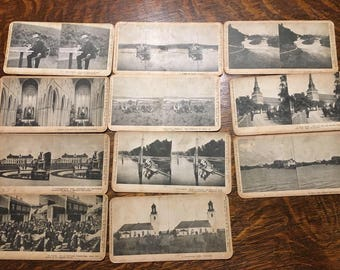 Vintage Set Of Stereoscope Viewer 3D Cards 11 Total Cards (Cards Only, Viewer Separate)