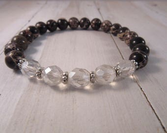 Beaded Stretch Bracelet with Jasperand Czech Glass Beads, Stack Bracelet, Boho Gift for Her, Bohemian Bracelet, Boho Chic Jewelry