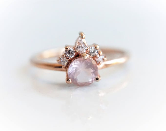 Olivia - solid 14k Gold, Sterling Silver, Rose Quartz and Cubic Zirconia, Rose Quartz Crown Ring, Rose Quartz Diamond Ring